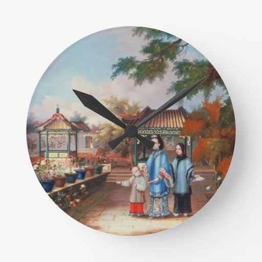 A mother with her children in a chinese garden, c. wall clocks