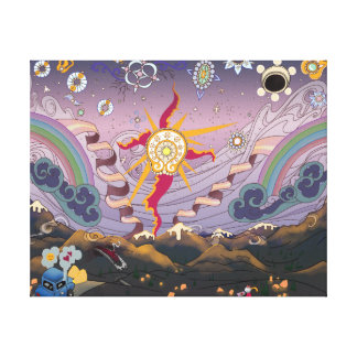A Mountain Sunset Starscape - Canvas Print