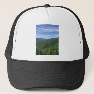 A mountain view trucker hat