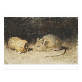 A mouse with a peanut by Albert Anker Postcard