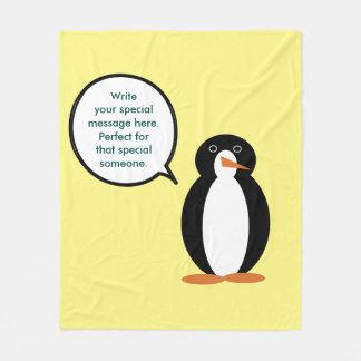 A Mr. Penguin Birthday Suit Fleece Blanket