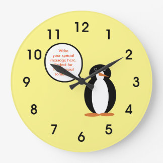 A Mr. Penguin Birthday Suit Large Clock