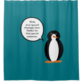 A Mr Penguin Birthday Suit Shower Curtain