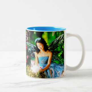 A mug: May God Bless You! May Angels Sing for You! Two-Tone Coffee Mug