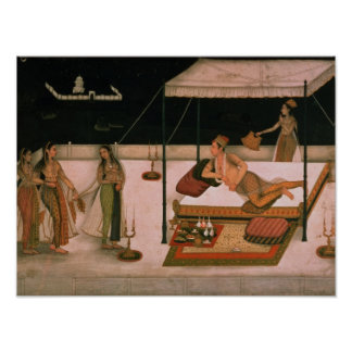 A Mughal prince receiving a lady at night Poster