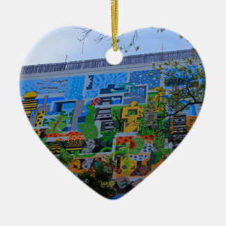 A Mural on the San Antonio Riverwalk Ceramic Heart Decoration