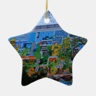 A Mural on the San Antonio Riverwalk Ceramic Star Decoration