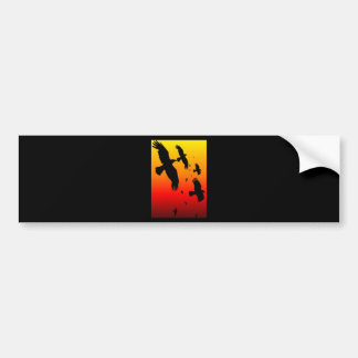 A Murder of Crows Against A Haunting Sunset Bumper Stickers