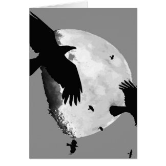 A Murder Of Crows And Moon Card