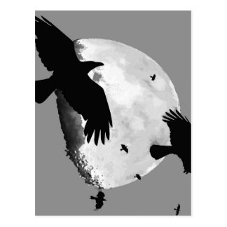 A Murder Of Crows And Moon Postcard