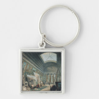 A Museum Gallery with Ancient Roman Art Silver-Colored Square Key Ring