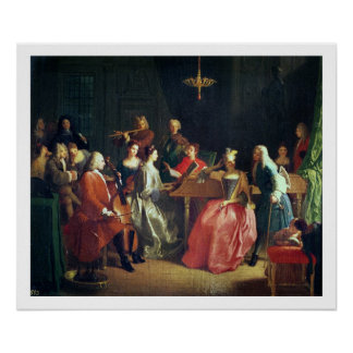 A Musical Evening (oil on canvas) Poster