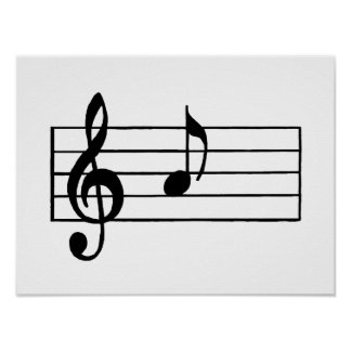 'A' Musical Note Poster