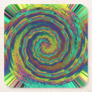 A Mystic Burst of Colors Square Paper Coaster
