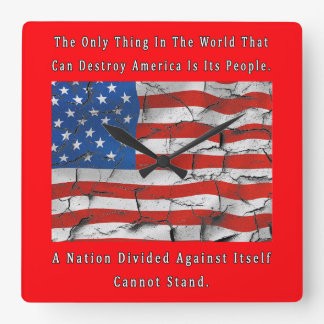 A Nation Divided Square Wall Clock