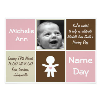 "a new heart name day girl invitation 5"" x 7"" invitation card"