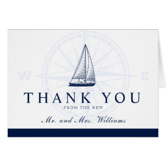 A New Journey Nautical Style Thank You Card
