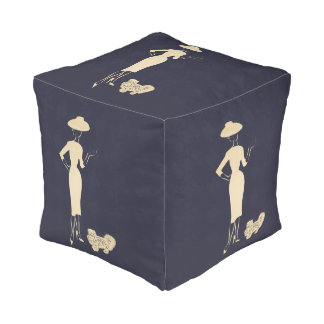 A New Look Vintage 1950s Fashion Cubed Pouf