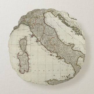 A new map of Italy with the islands of Sicily Round Cushion