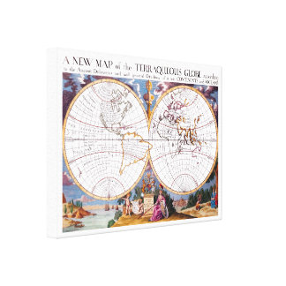 A New Map Of The Terraqueous Globe Wrapped Canvas Gallery Wrap Canvas