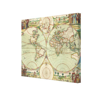 A new mapp of the world - Atlas Canvas Print