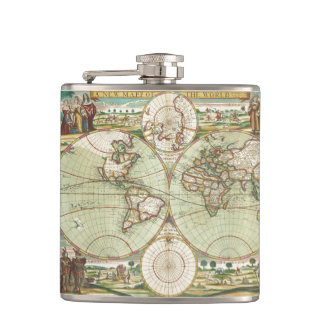 A new mapp of the world - Atlas Hip Flask