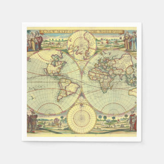 A new mapp of the world - Atlas Paper Napkins