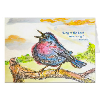 """""""A New Song"""" (with Bible verse) Card"""