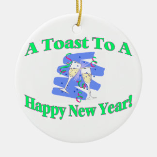 A New Year's Toast Round Ceramic Decoration