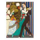 A Night in Decadent Paris Art Deco Postcard
