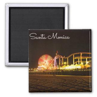 A Night In Santa Monica California Square Magnet