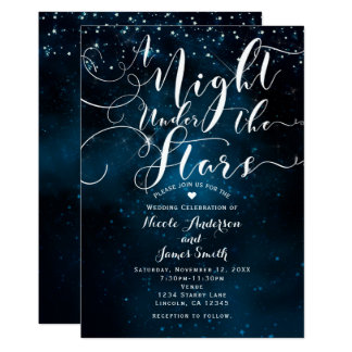 A NIGHT UNDER THE STARS Starry Blue Skies Wedding Card