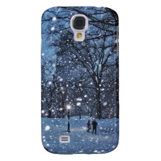 A Nighttime Walk Through Winter Snow Galaxy S4 Cases