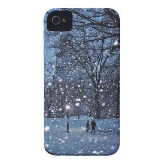 A Nighttime Walk Through Winter Snow iPhone 4 Cases