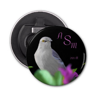 A Northern Mocking Bird with Purple & Green Leaves Bottle Opener