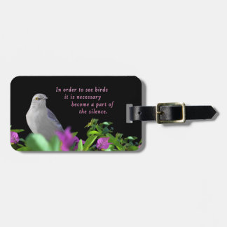 A Northern Mocking Bird with Purple & Green Leaves Luggage Tag