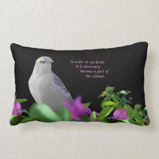A Northern Mocking Bird with Purple & Green Leaves Lumbar Cushion
