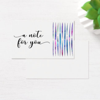 """""""a note for you"""" typography w/ abstract streamers business card"""
