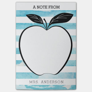 A Note From Teacher Apple & Watercolor Stripes Post-it® Notes