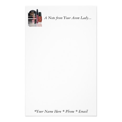 A Note from Your Avon Lady Stationary Stationery Paper