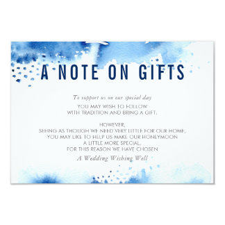 A NOTE ON GIFTS stylish watercolor dark blue Card