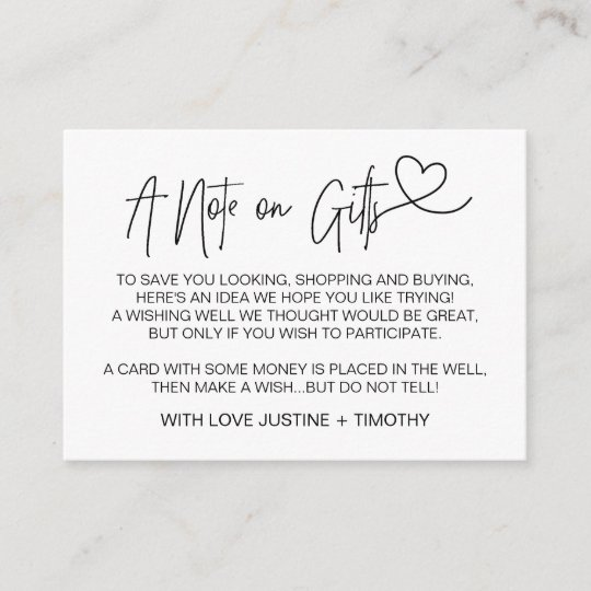 Standard Monetary Wedding Gift: A Note On Gifts Wedding Wishing Well Card Heart