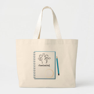 A notebook with a cheerleading design jumbo tote bag