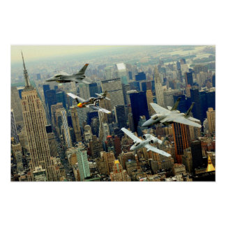A P-51 Mustang, F-16 Fighting Falcon, F-15 Eagle, Poster