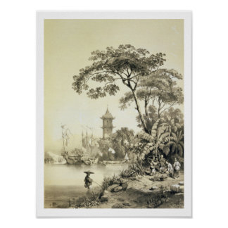A Pagoda on the Macao-Canton Canal, plate 21 from Poster