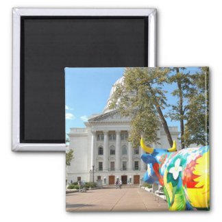 A Painted Cow Admires the Capital Building Square Magnet