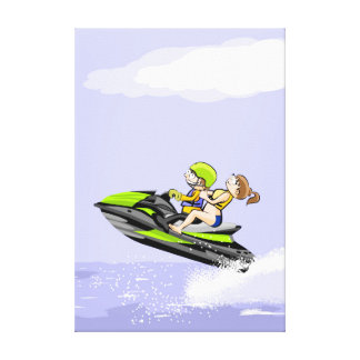 A pair at full speed leaves in its jet ski canvas print