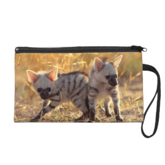 A pair of Aardwolf cubs at play Wristlet Clutch