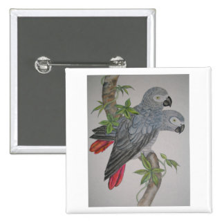 A Pair of African Grey Parrots watercolor painting Pinback Button