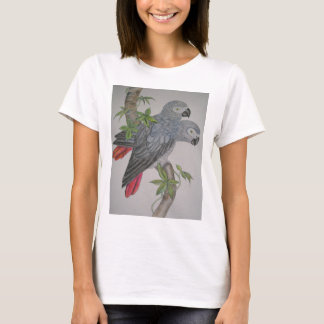 A Pair of African Grey Parrots watercolor painting T-Shirt